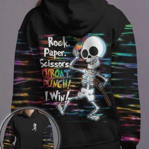 Skeleton rock paper throat punch I win 3D hoodie