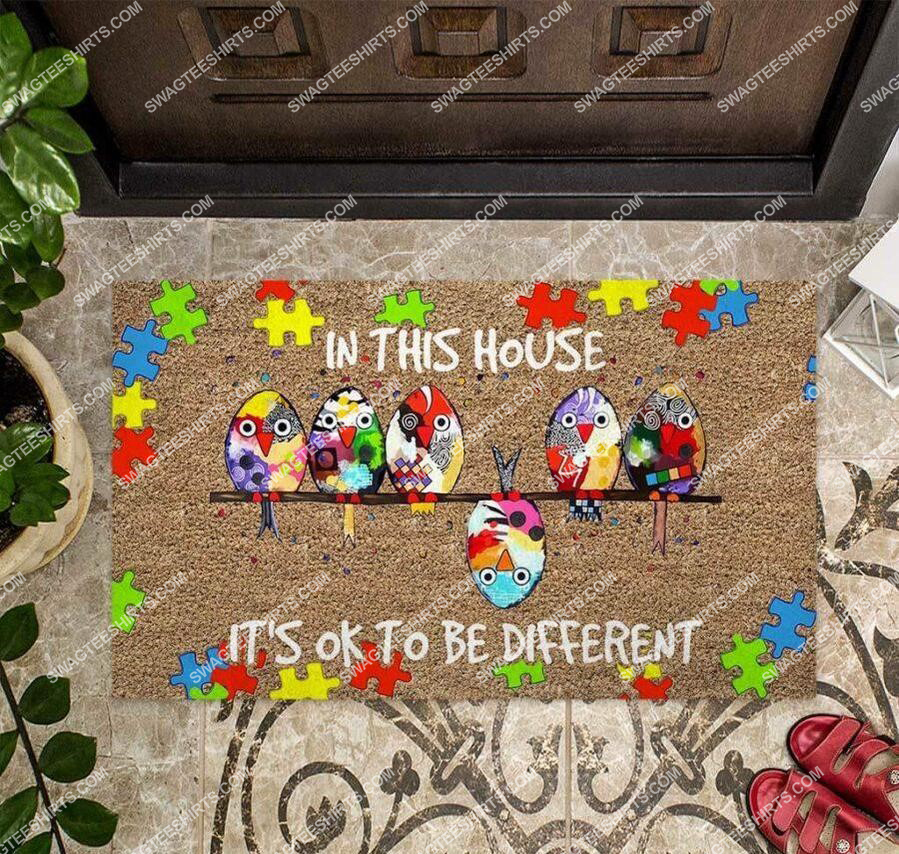 [special edition] in this house its ok to be different autism awareness full print doormat - maria