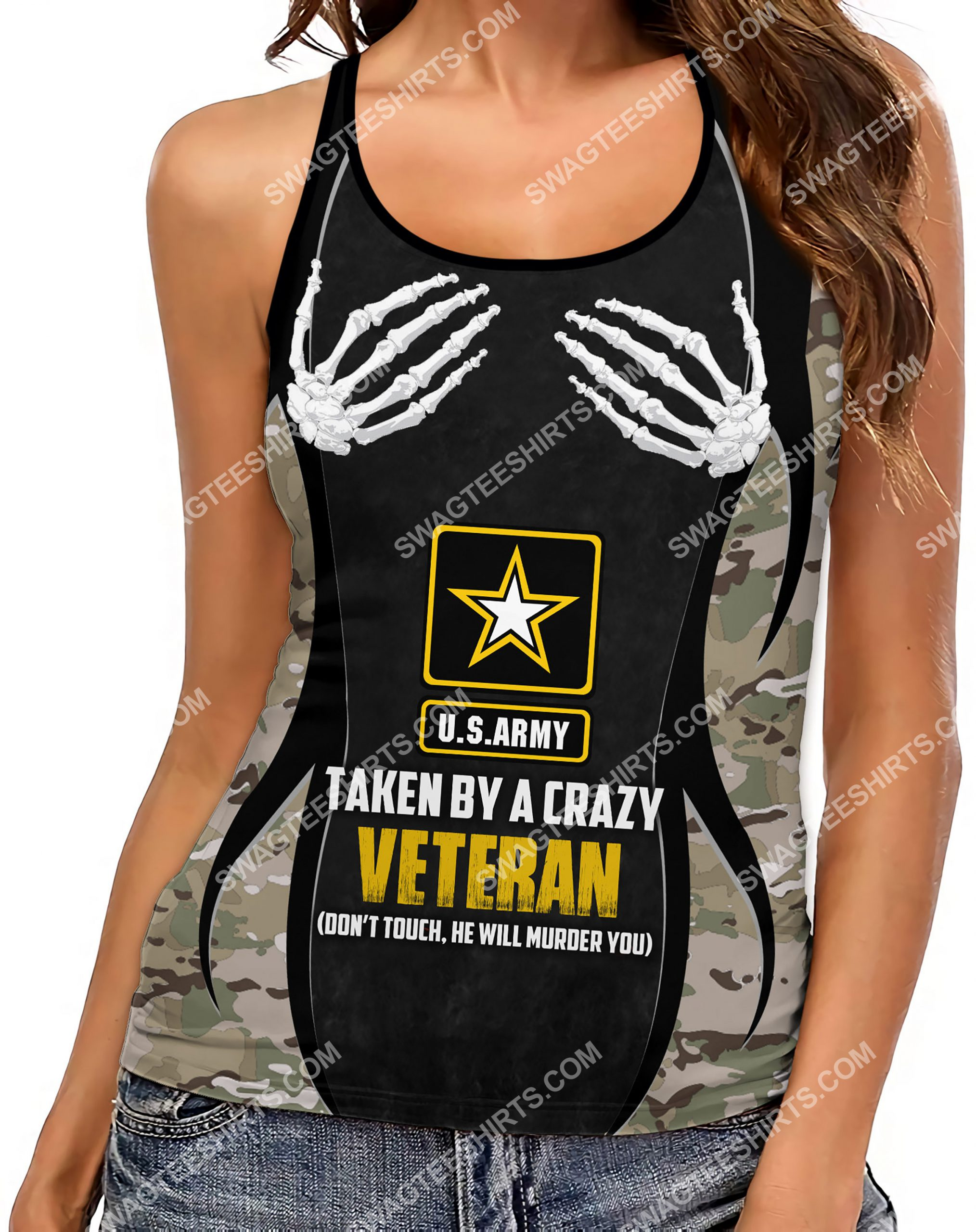 [Top-selling] taken by a crazy veteran don't touch strappy back tank top - maria