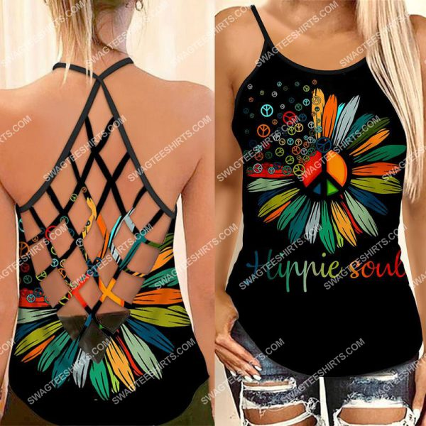 [Top-selling] vintage hippie soul flower all over printed strappy back tank top - maria
