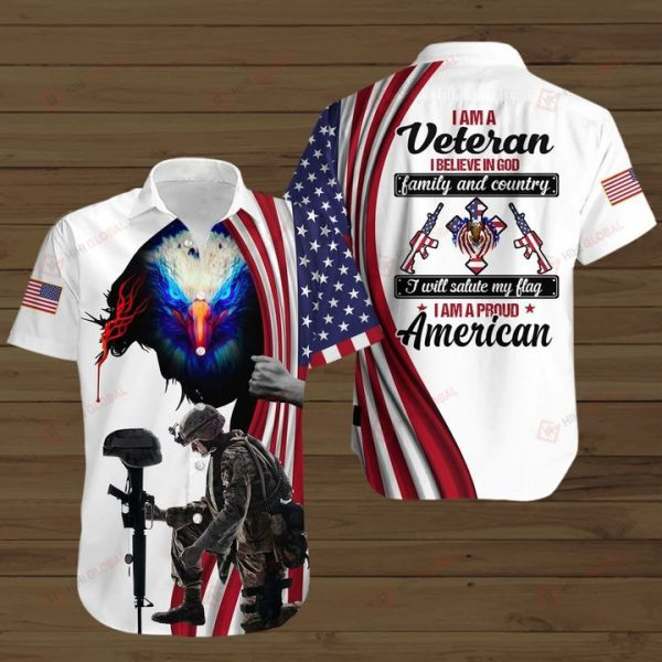 I am a veteran i believe in god family and country all over print shirts - Hothot 110621