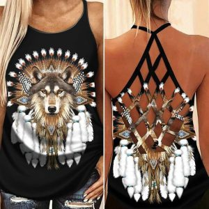 Native Wolf cross criss strappy tank top