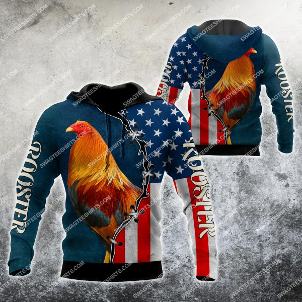 [Top-selling] the american flag and rooster chicken full printing shirt - maria