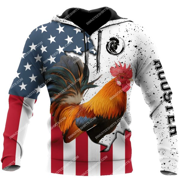 [Top-selling] the american flag and rooster full printing shirt - maria