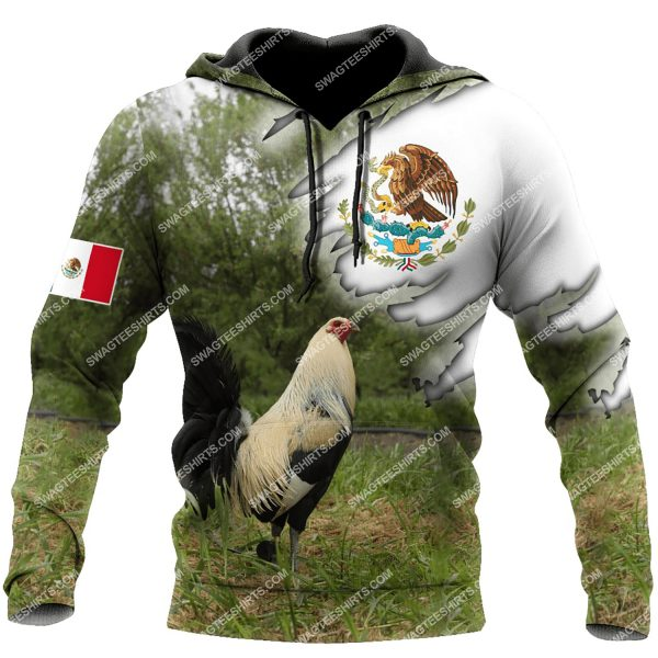 [Top-selling] the mexican flag and rooster full printing shirt - maria