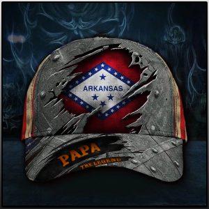 Arkansas papa the legend USA flag cap