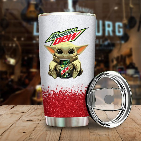 Baby Yoda Hold Moutain Dew Steel Tumble