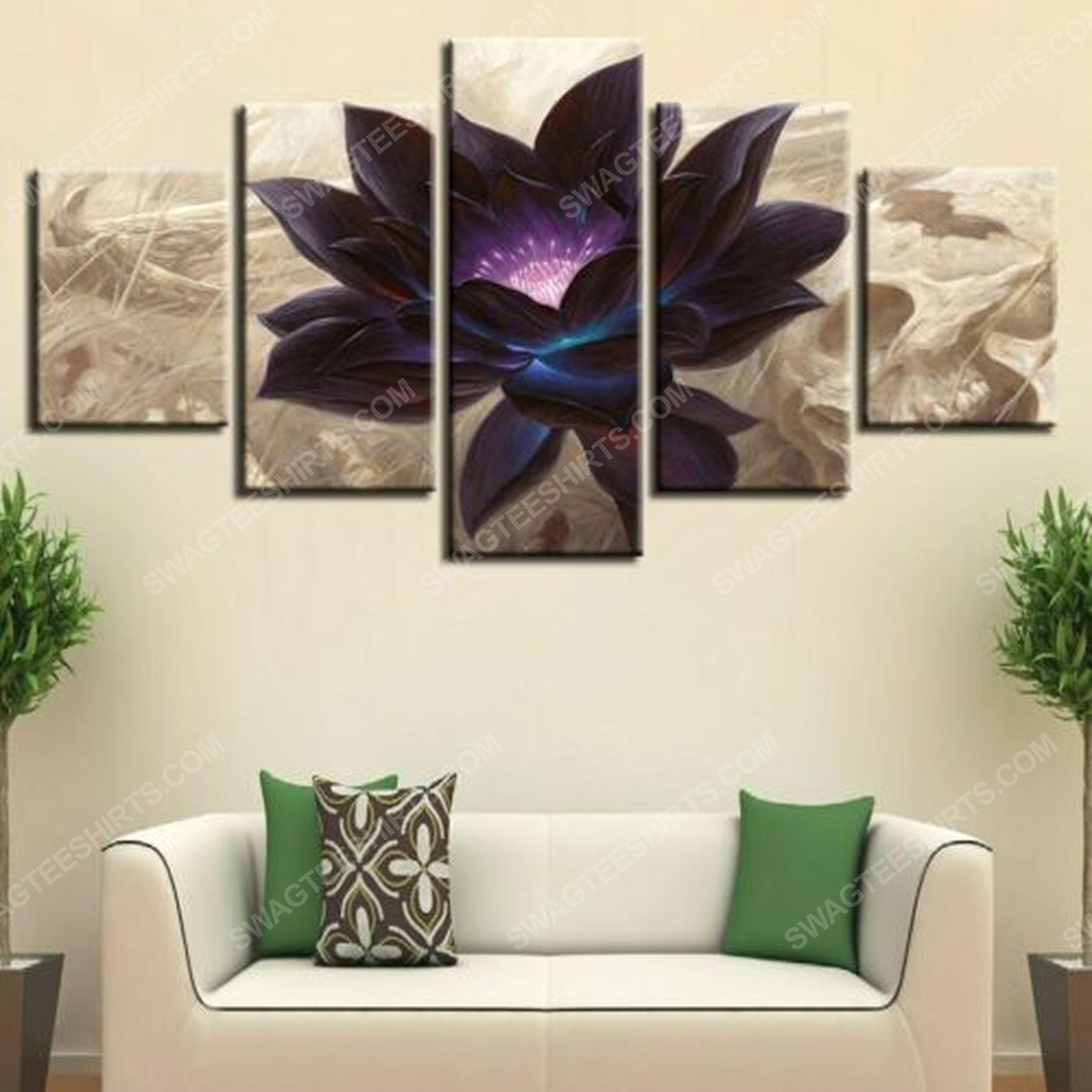 Black lotus flower print painting canvas wall art home decor