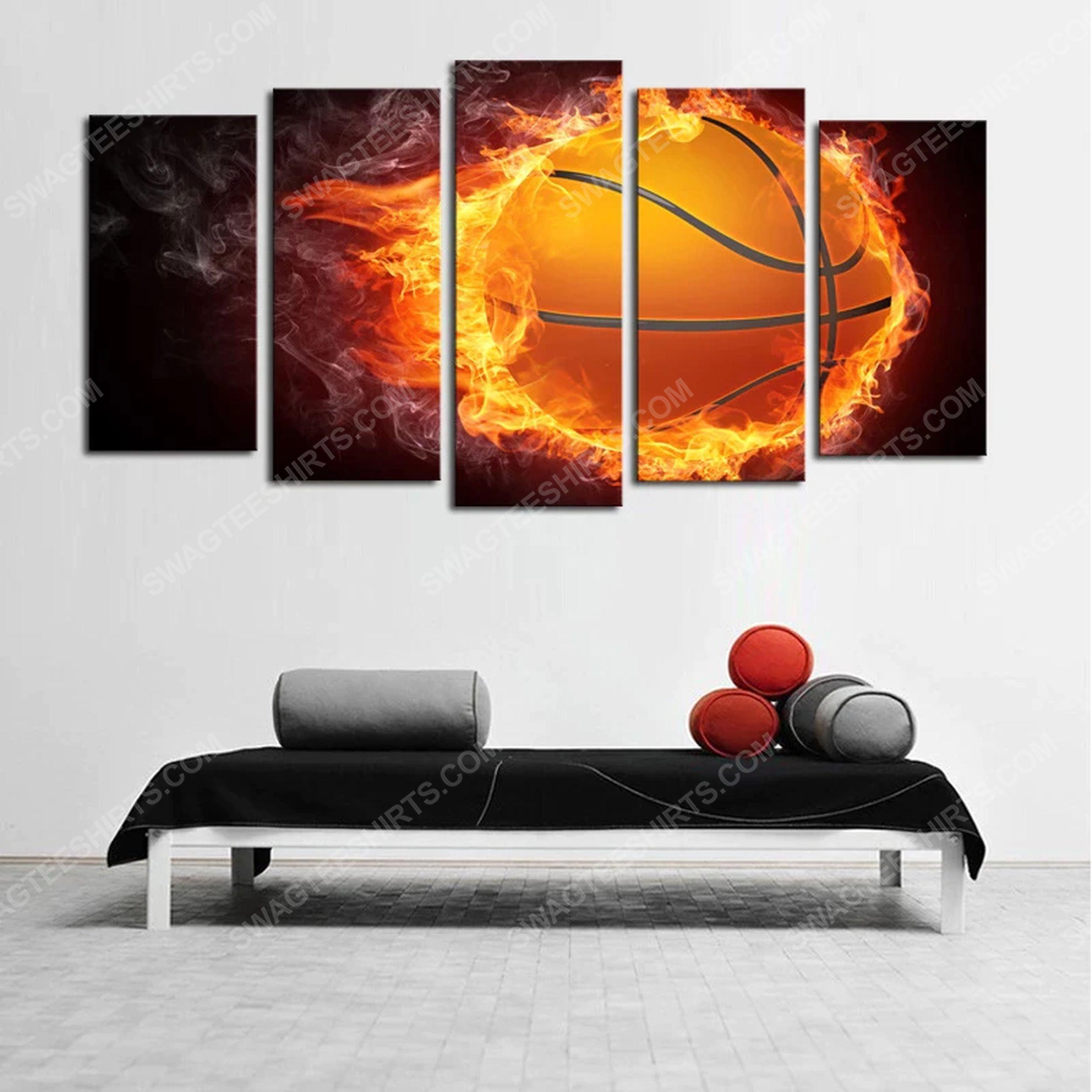 Fire basketball theme print painting canvas wall art home decor