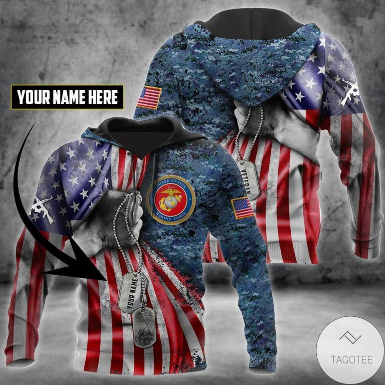 Personalized Us Marine Corps Tag 3D All Over Print Hoodie