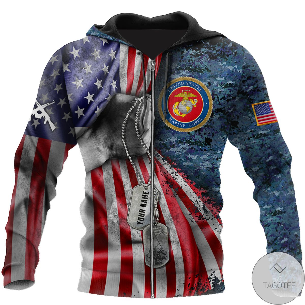 Personalized Us Marine Corps Tag 3D All Over Print Hoodie z