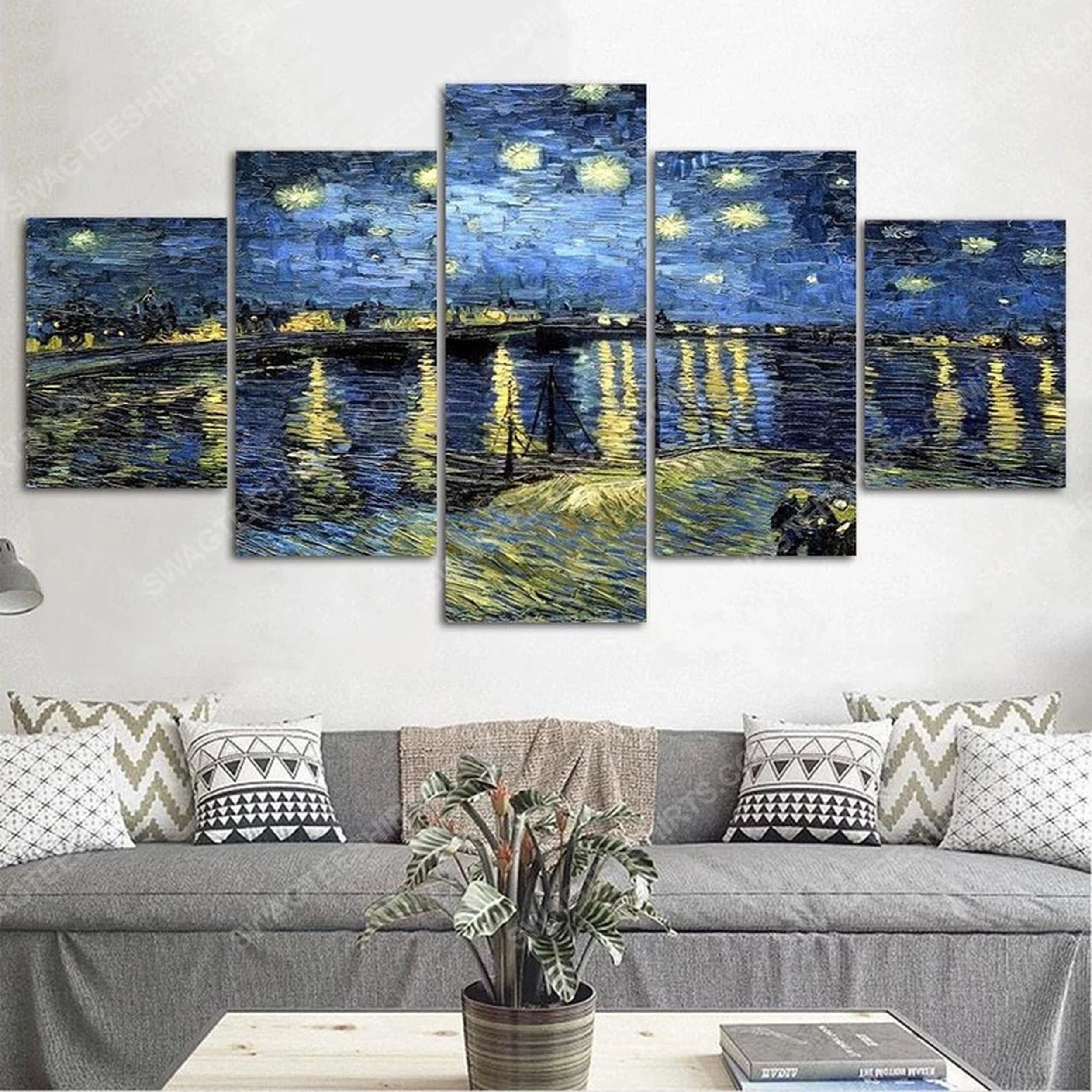Starry night over rhone print painting canvas wall art home decor