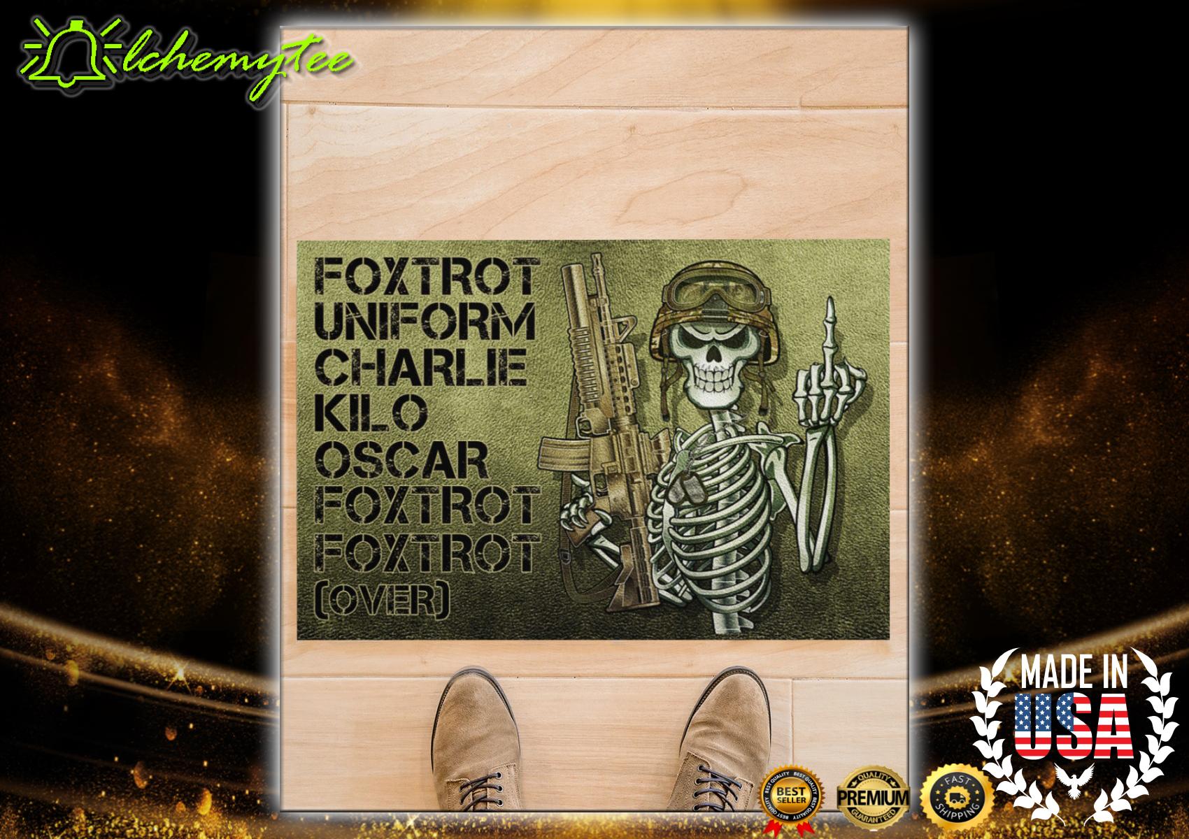 Veteran Skull Foxtrot Uniform Charlie Kilo Oscar Doormat