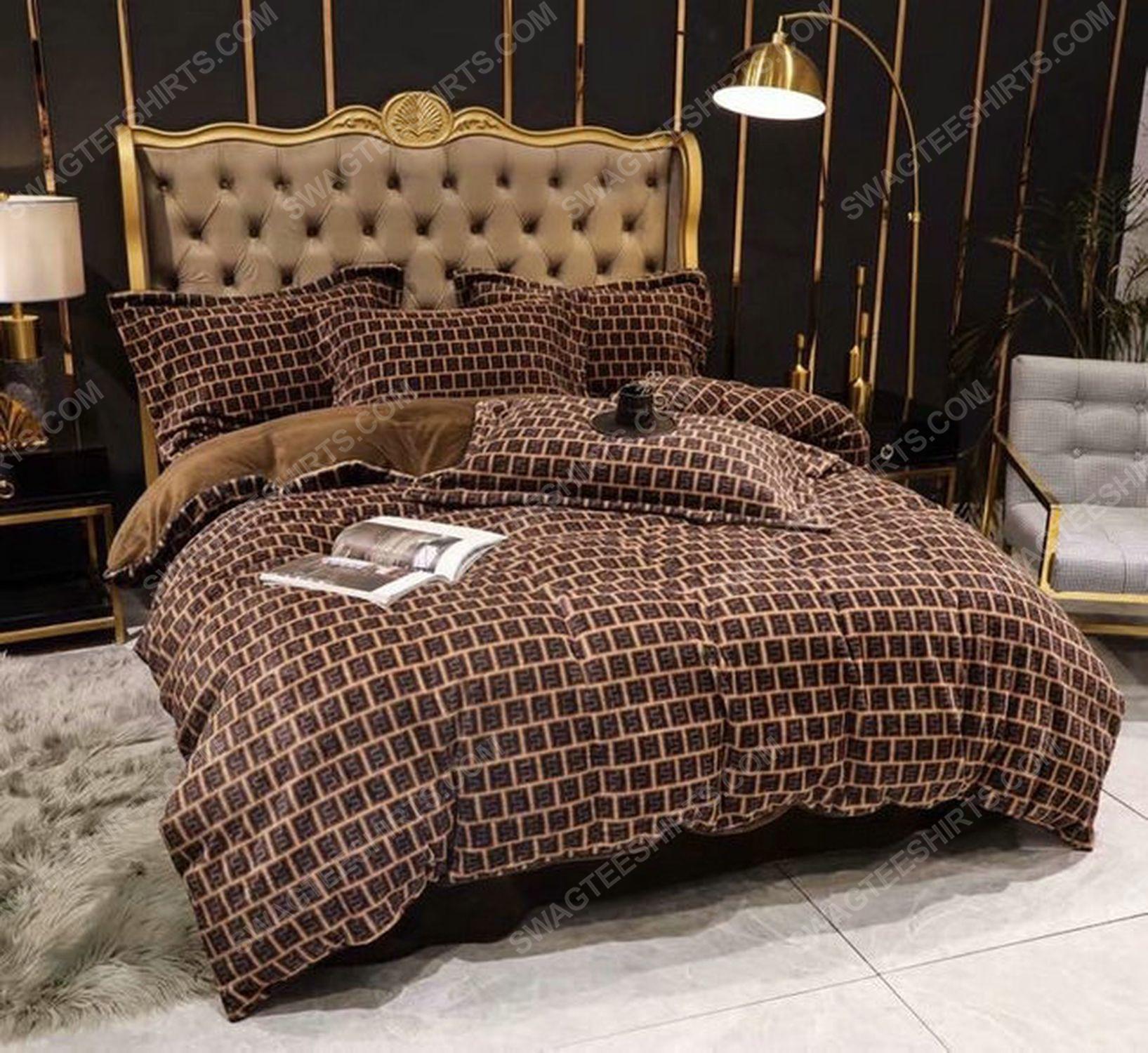 Fendi monogram symbols full print duvet cover bedding set