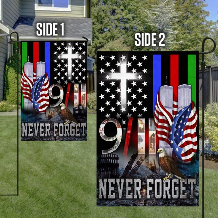 9/11 flag police military and fire thin line - Picture 1