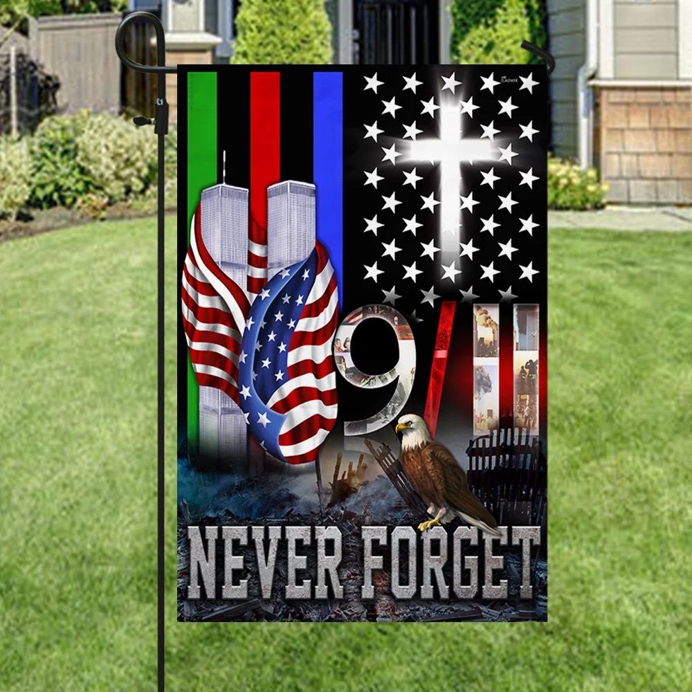 9/11 flag police military and fire thin line - Picture 3