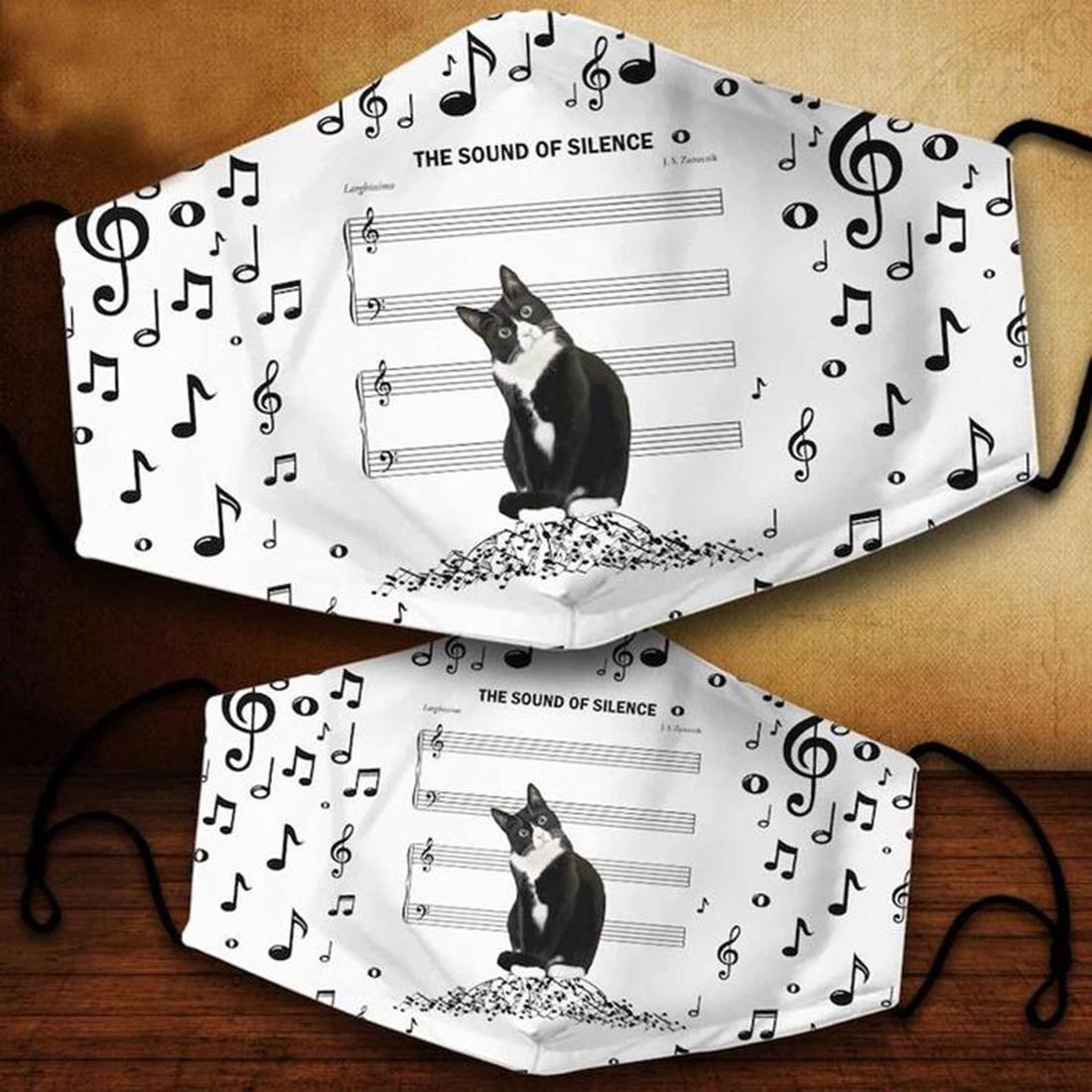 Black cat music cloth face cover