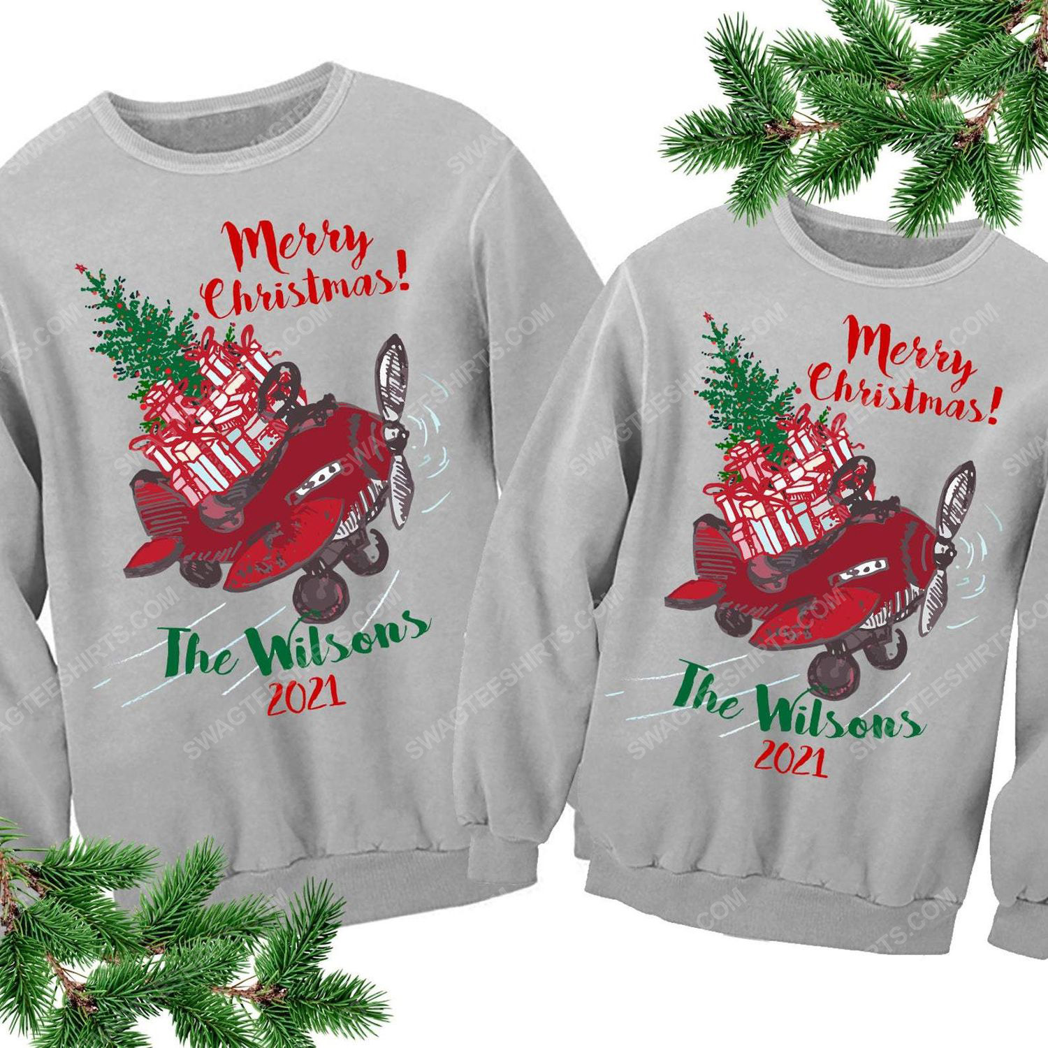 Custom for family airplane and merry christmas ugly christmas sweater