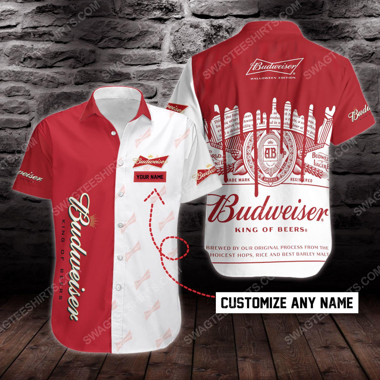 Custom name budweiser beer short sleeve hawaiian shirt