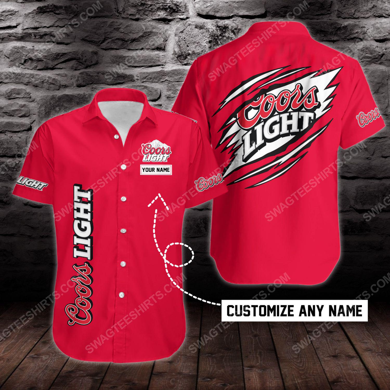 Custom name coors light beer short sleeve hawaiian shirt