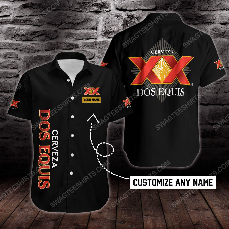 Custom name dos equis beer short sleeve hawaiian shirt