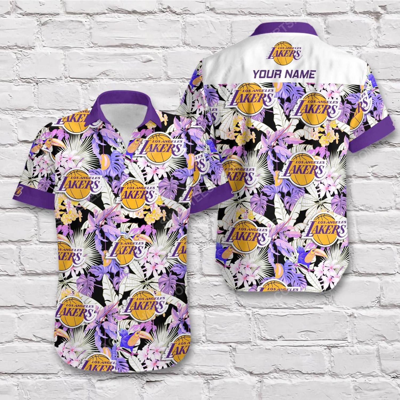 Custom name los angeles lakers short sleeve hawaiian shirt