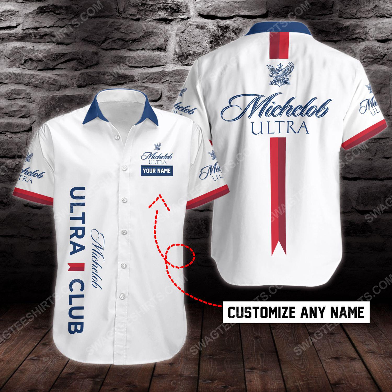 Custom name michelob ultra beer short sleeve hawaiian shirt