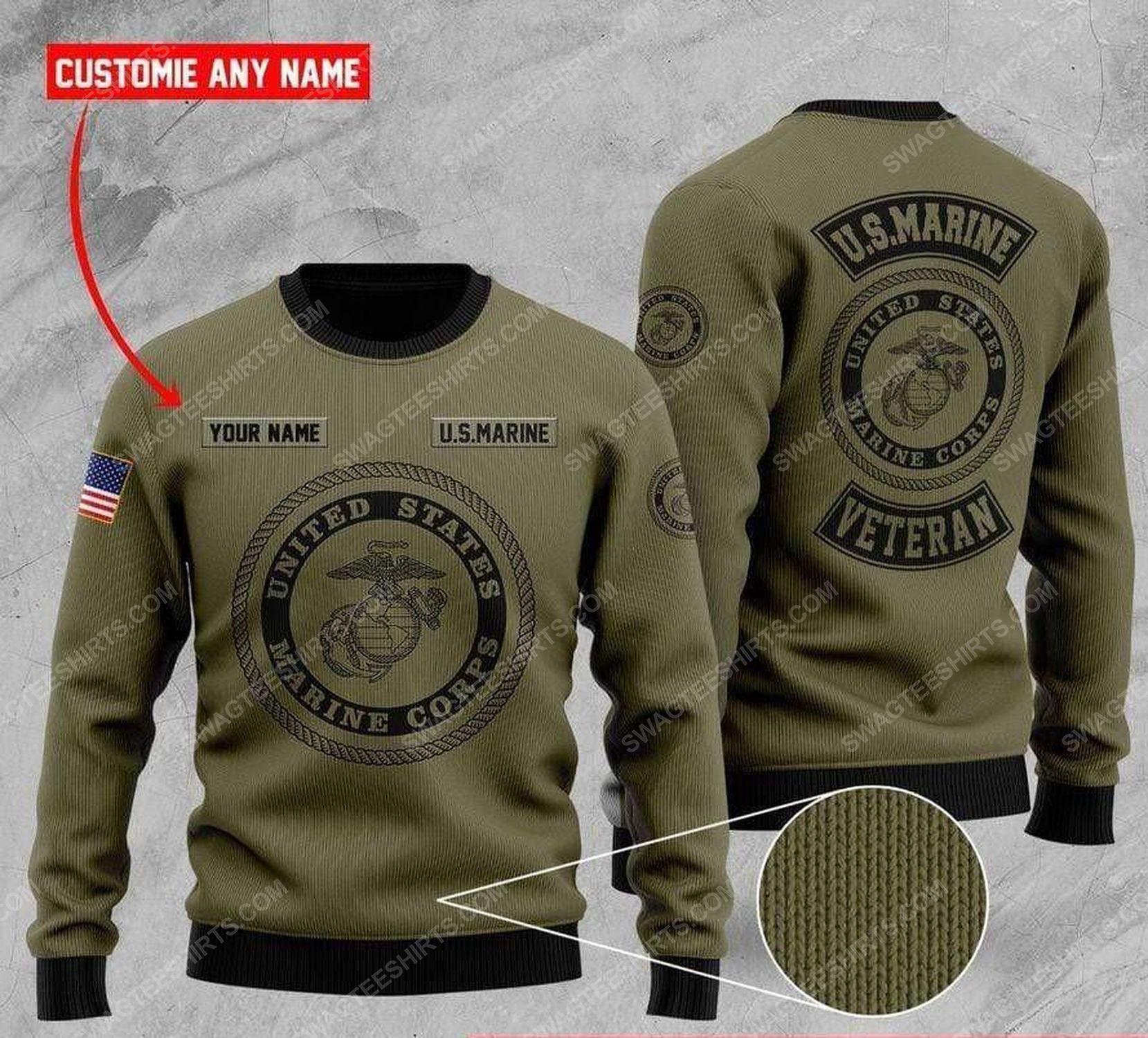 Custom us marine veteran all over print ugly christmas sweater