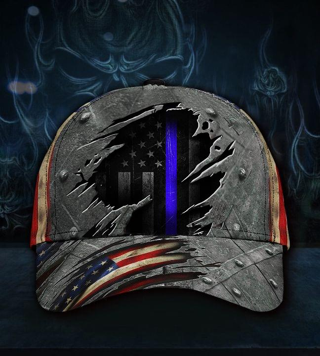 Thin Blue Line American Flag 3D Cap