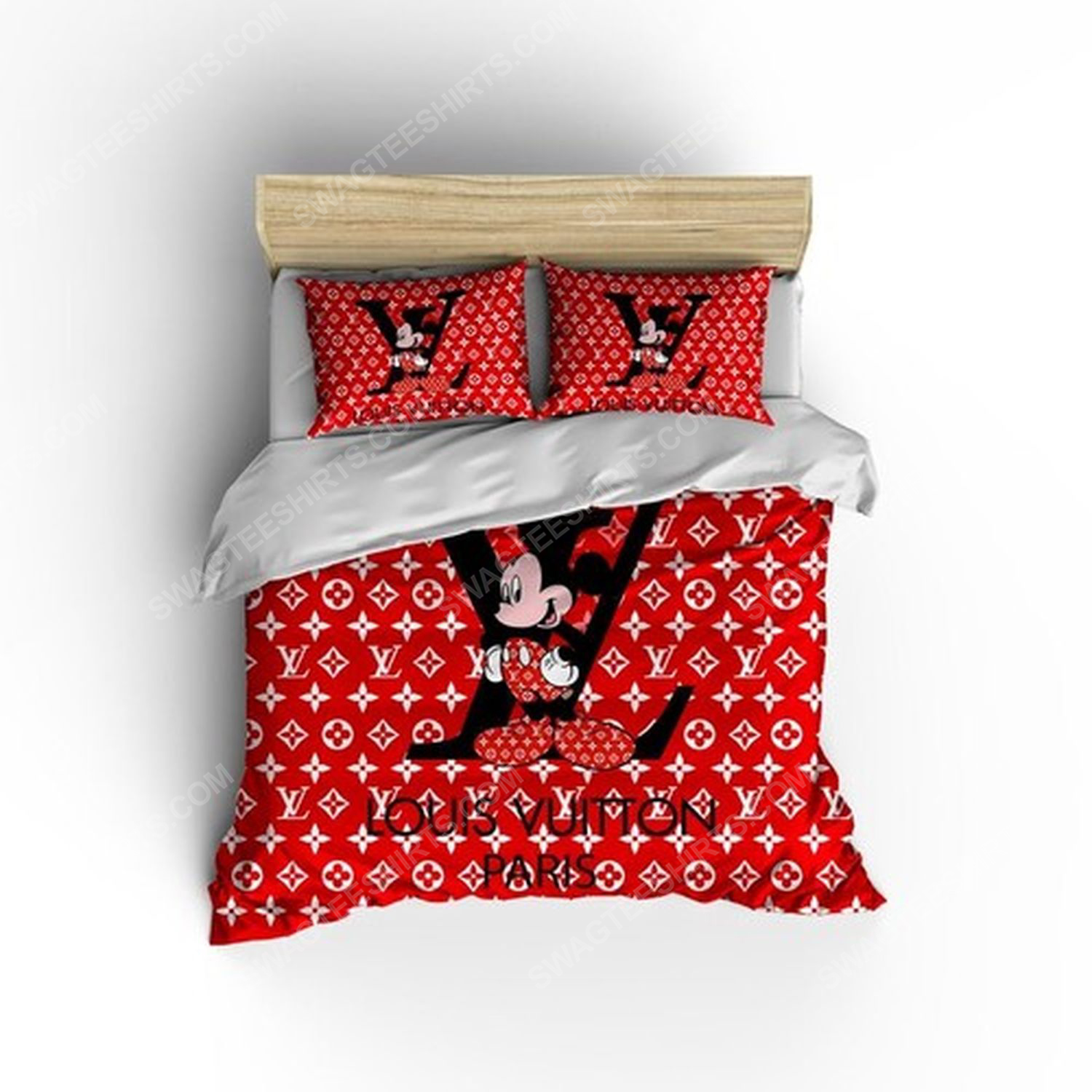 Lv and mickey mouse full print duvet cover bedding set