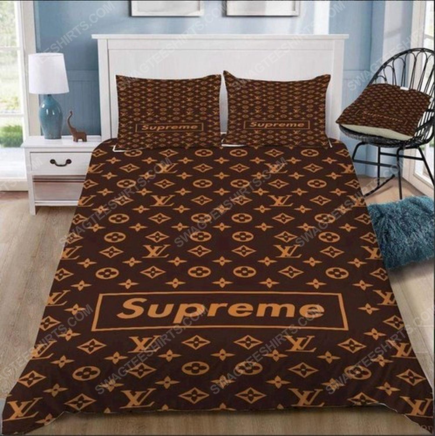 Lv monogram symbols full print duvet cover bedding set
