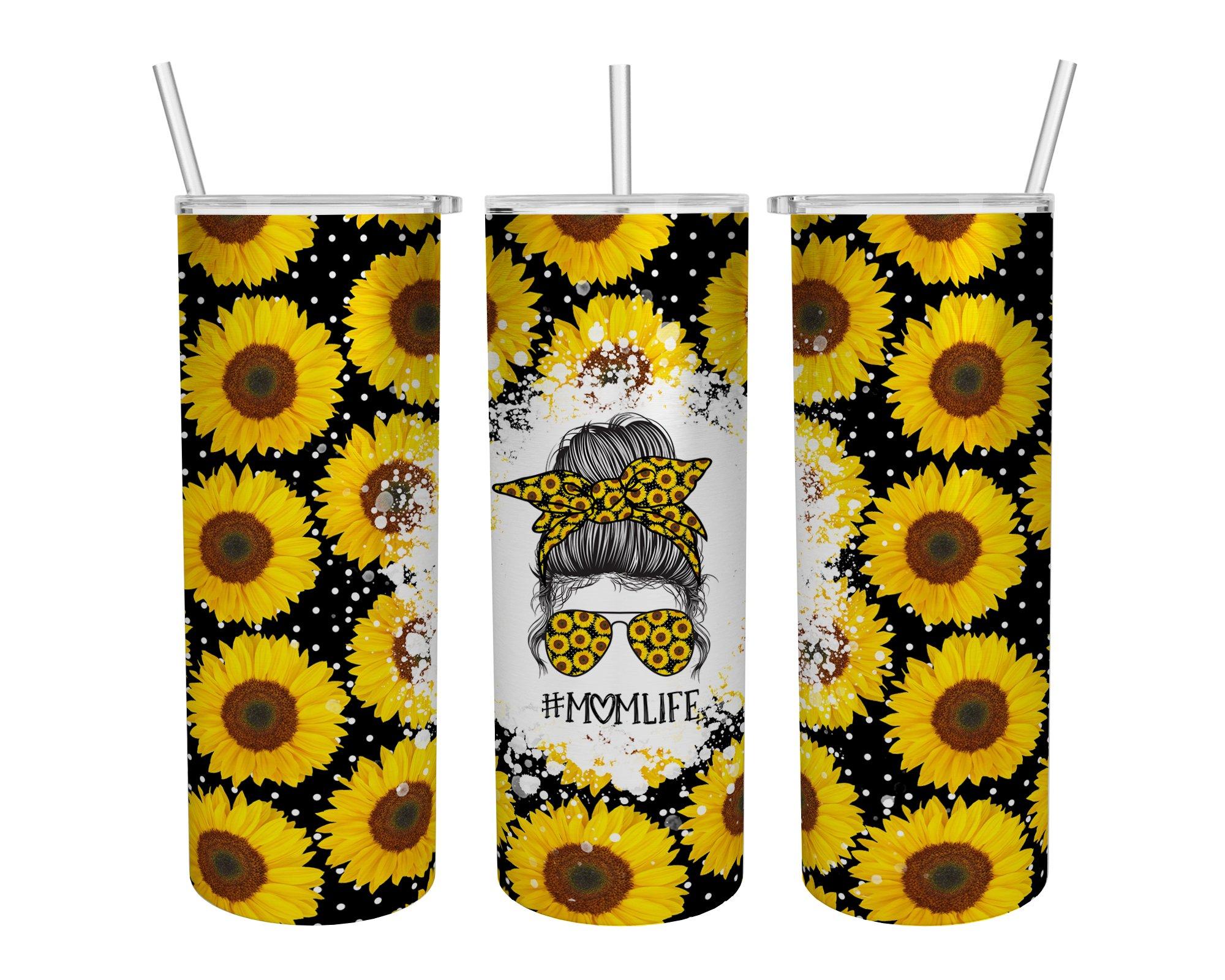 Mom Life Sunflower Skinny Tumbler Cup