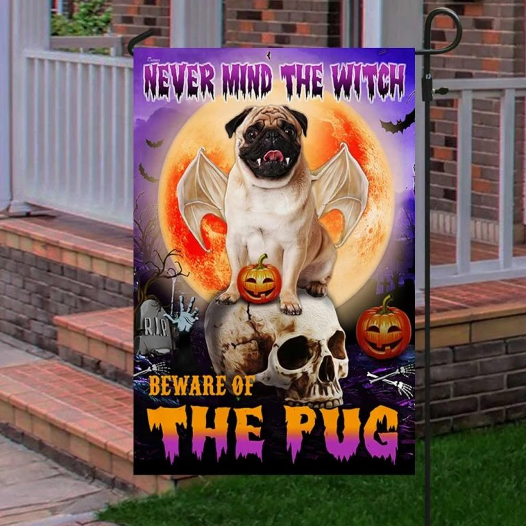 Never mind the witch Beware of the pug halloween flag - Picture 3