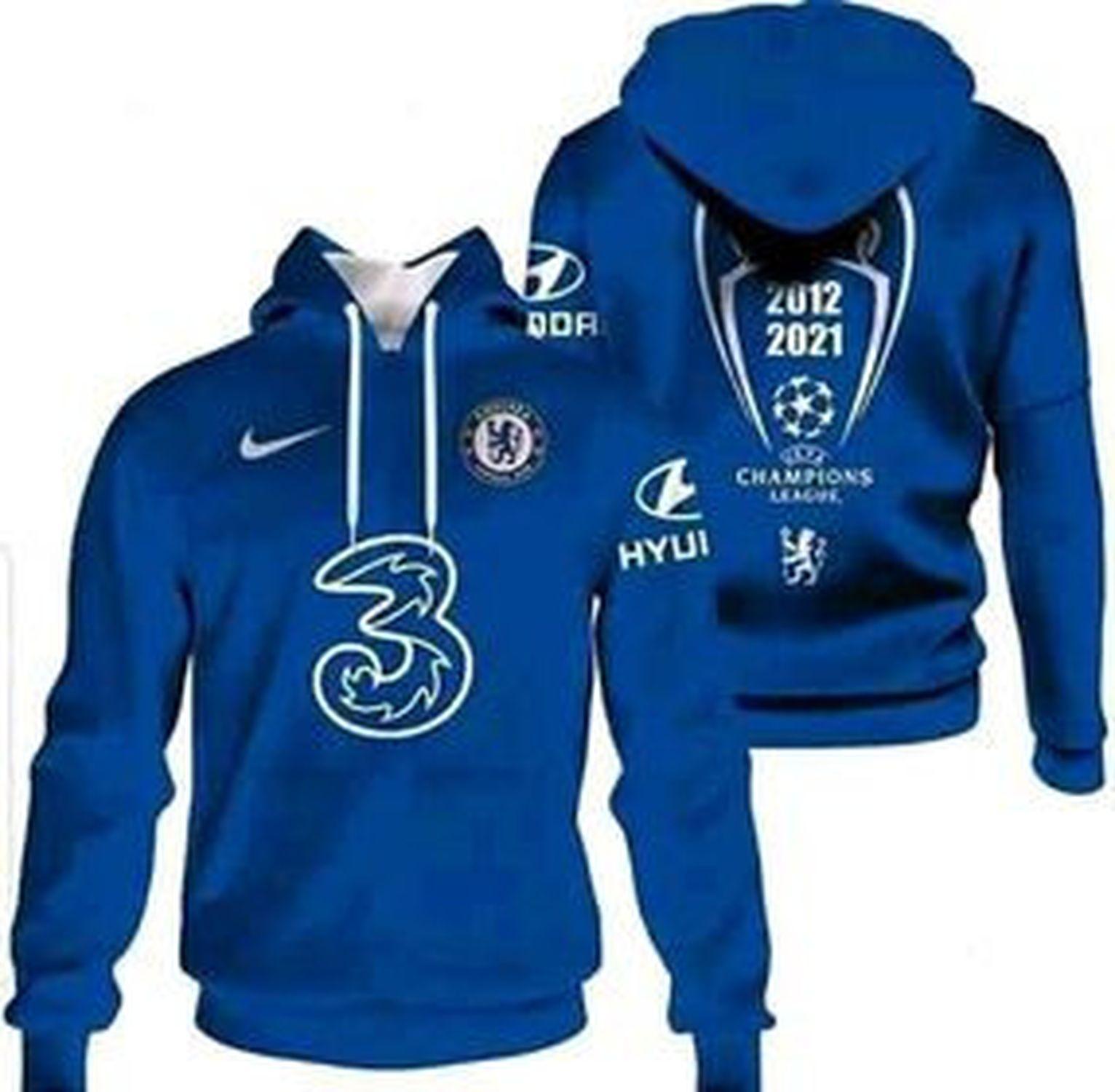 Chelsea 2012 2021 champions league hoodie
