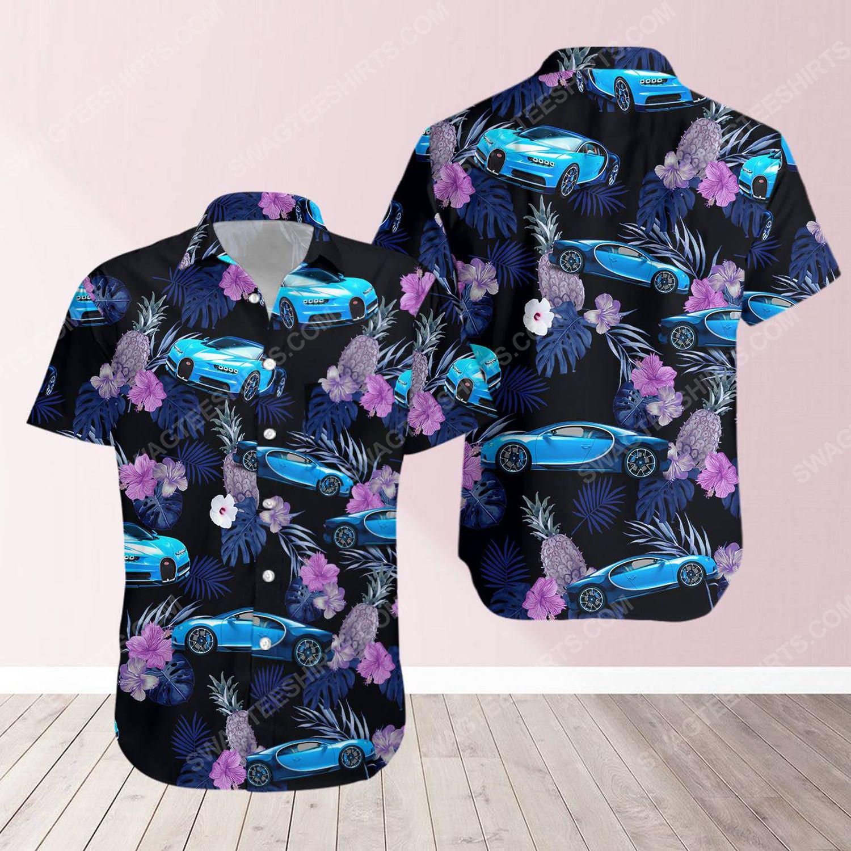 Tropical bugatti car short sleeve hawaiian shirt