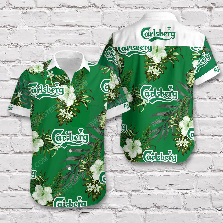 Tropical carlsberg beer short sleeve hawaiian shirt