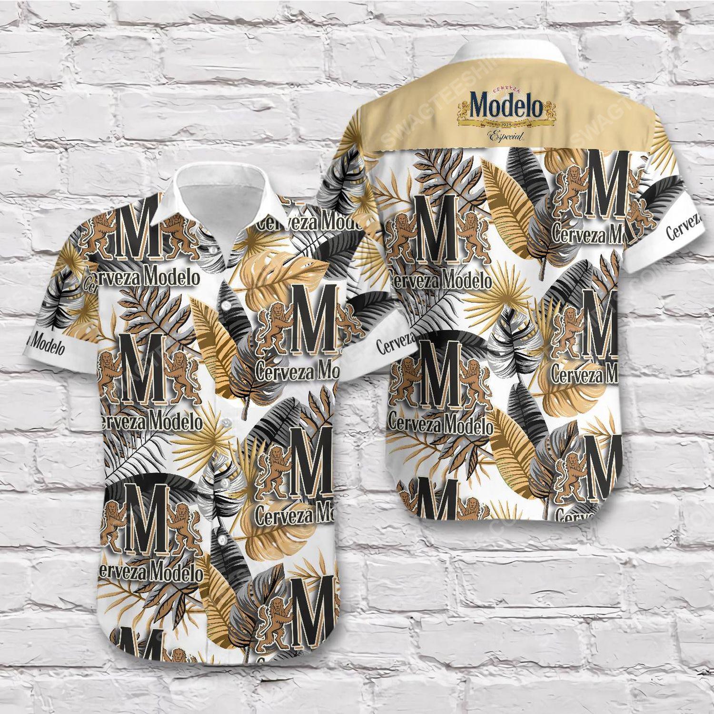 Tropical cerveza modelo beer short sleeve hawaiian shirt