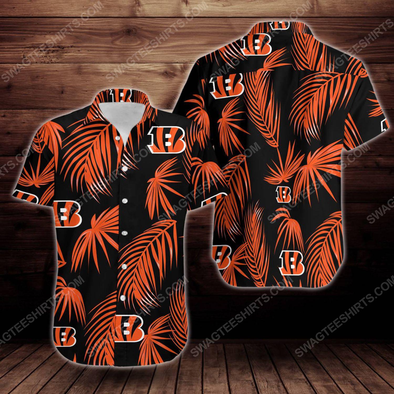 Tropical cincinnati bengals short sleeve hawaiian shirt