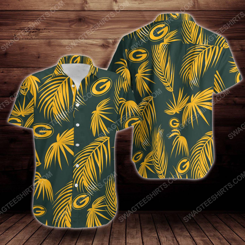 Tropical summer green bay packers short sleeve hawaiian shirt