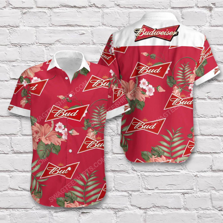 Tropical vibe budweiser beer short sleeve hawaiian shirt