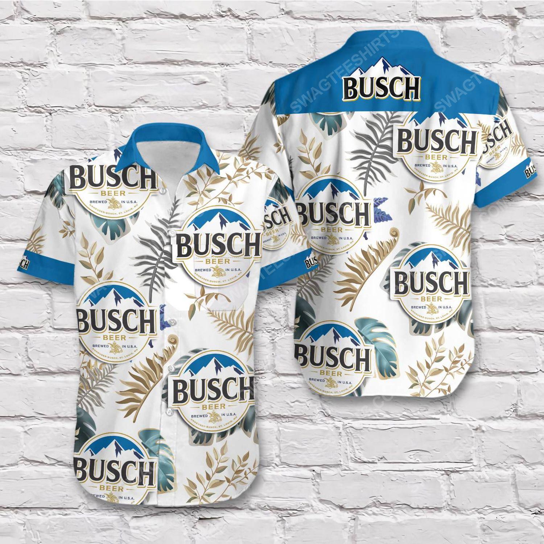 Tropical vibe busch beer blue short sleeve hawaiian shirt