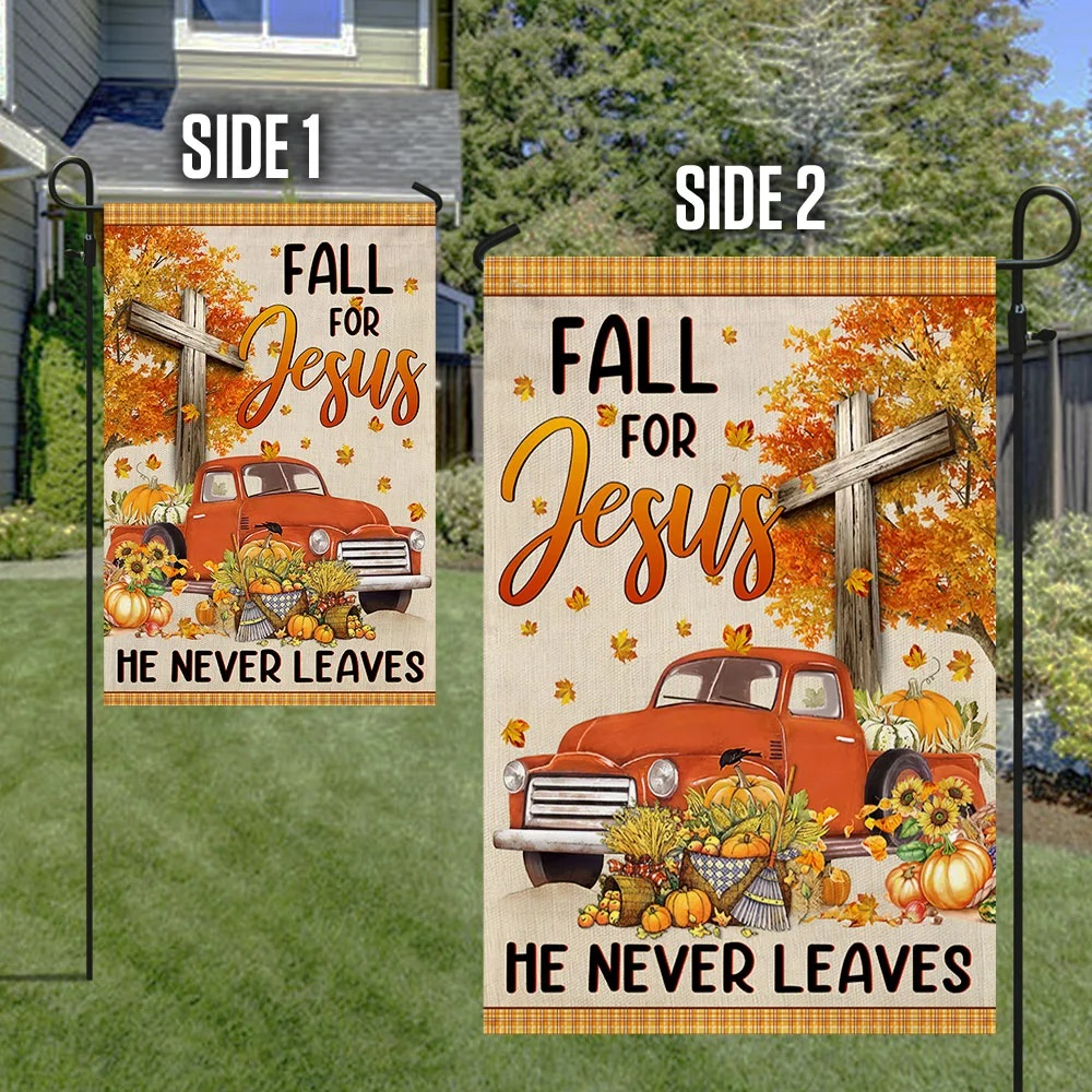 Truck with pumpkins Fall for jesus he never leaves halloween flag - Picture 1