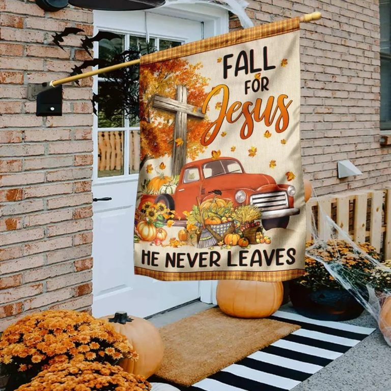 Truck with pumpkins Fall for jesus he never leaves halloween flag - Picture 2