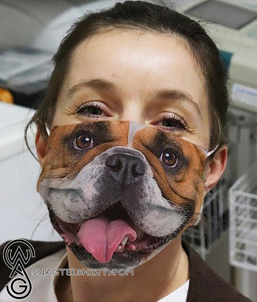 Happy bulldog face all over printed face mask