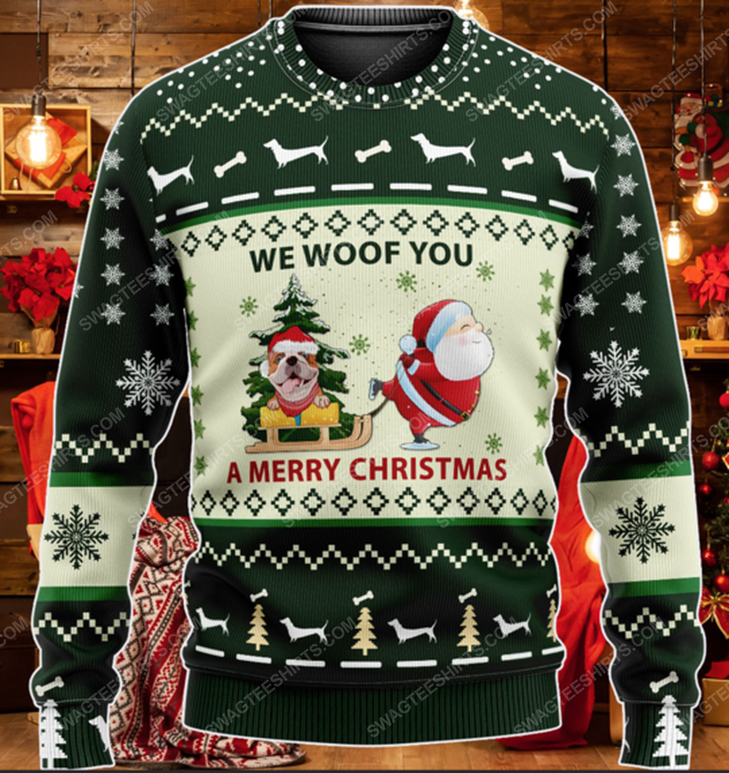 Bulldog we woof you a merry christmas ugly christmas sweater 2