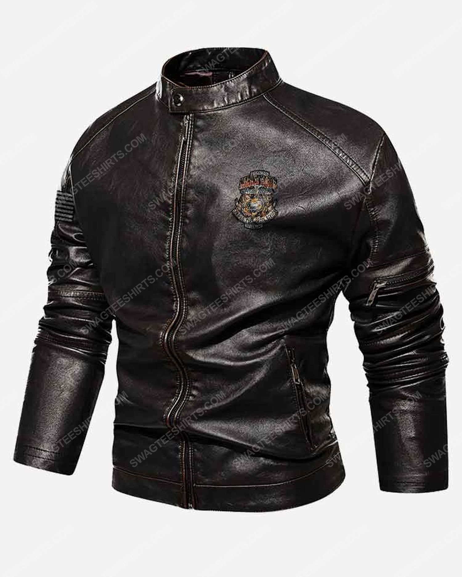 Custom marine corps proud to have served veterans moto leather jacket