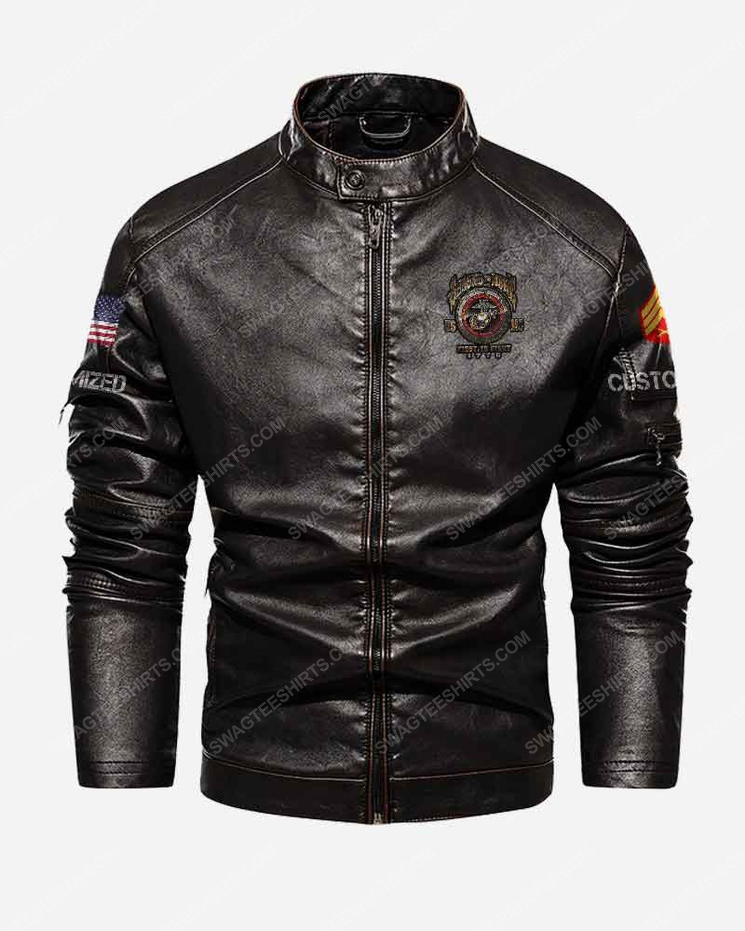 Custom united states marine corps second to none first to fight moto leather jacket