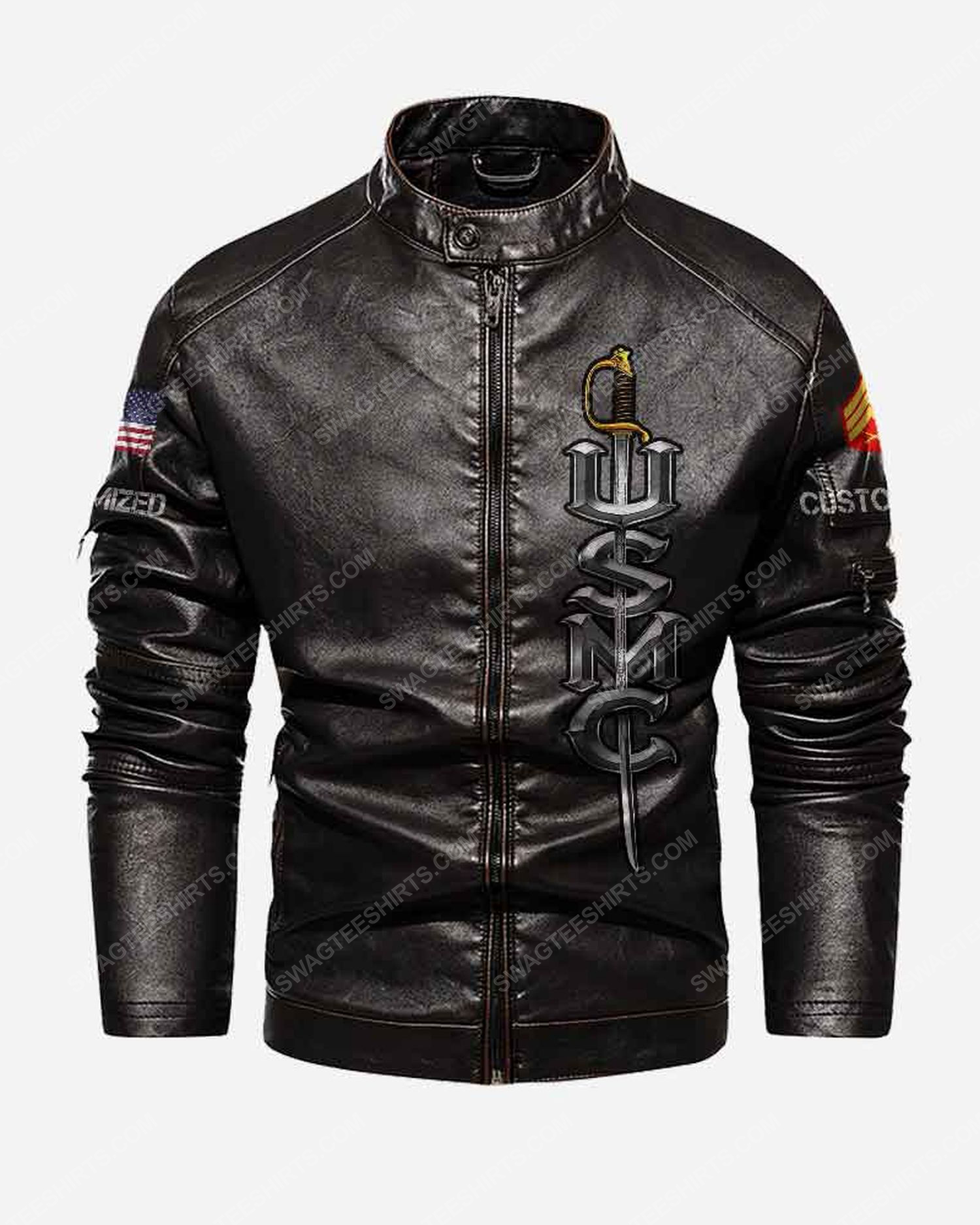 Custom united states marine corps semper fidelis moto leather jacket