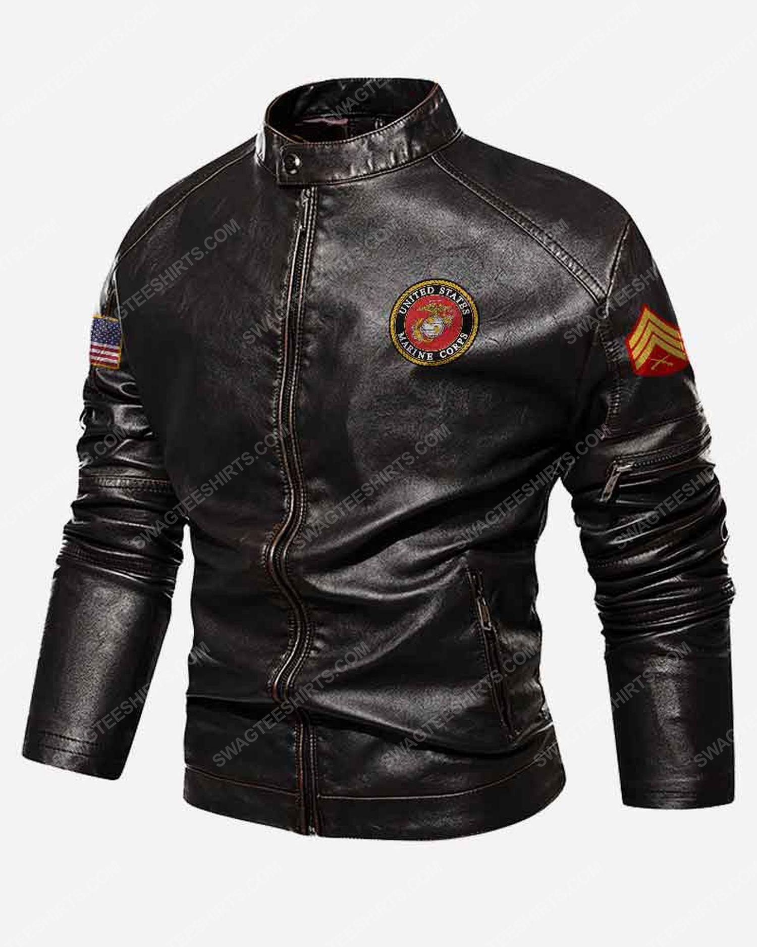 Custom united states marine corps symbol moto leather jacket