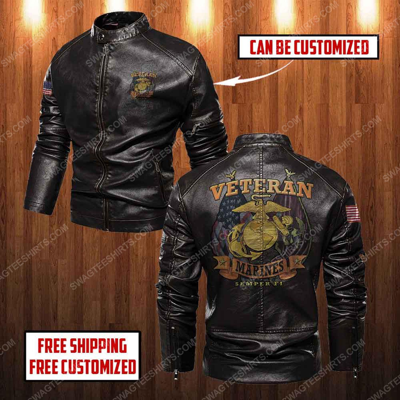 Custom united states marine corps veteran semper fi moto leather jacket